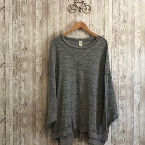 Free people oversized gray thermal sweater tee